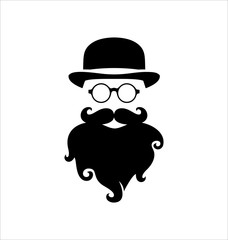 Hipster Black on White Background, Rounded Glasses