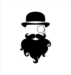 Hipster Black on White Background, Monocle and Beard