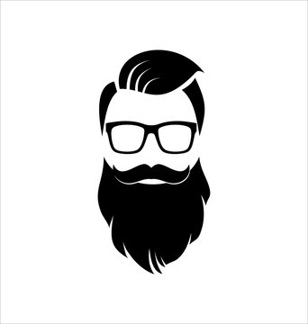 Hipster Black on White Background, Hairstyle