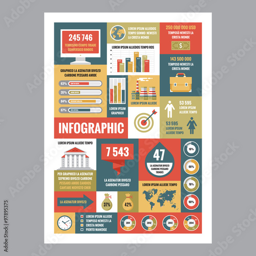 business infographic mosaic poster with icons in flat design style