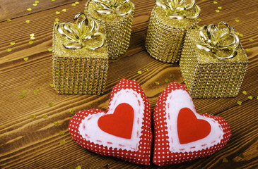 Red hearts and four gold gift.