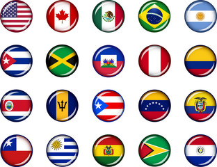 America button Set Set of vector graphic glossy buttons representing countries of North and South America.