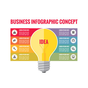 Infographic business concept - creative idea illustration - vector yellow lamp and colored stripes with icons for presentation, booklet, website etc.