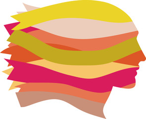 Female profile made of multi-colored ribbons, EPS 8 vector illustration