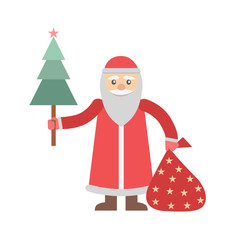 Illustration of Santa Claus with sack full gifts isolated on white background