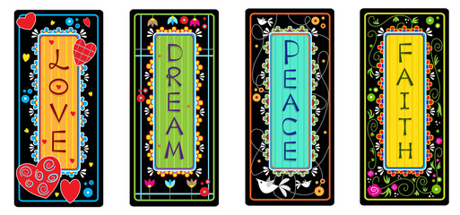 Inspirational Words - Set of four tags with the words love, dream, peace and faith. Eps10