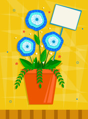 Blue Flowers - Blue flowers in an orange pot in front of a yellow decorative background. Eps10