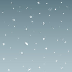 White Snowflake Falling Background Simple Vector