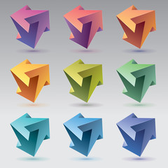 9 Impossible shapes, 3 arrows, unreal crystals. Abstract vector objects, color set