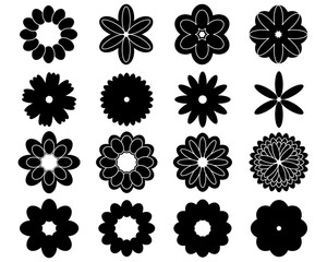 Black silhouettes of sixteen simple vector flowers