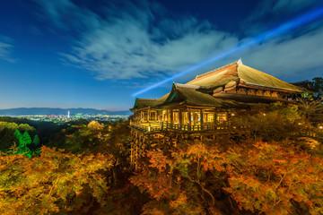 light up laser show at kiyomizu dera temple , Kyoto , Japan