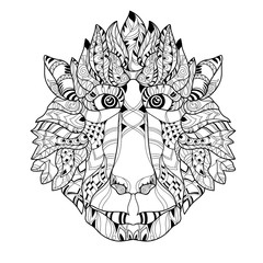 Zentangle  monkey head doodle. Hand drawn vector illustration. Sketch for tattoo or coloring pages. Animal sketch.