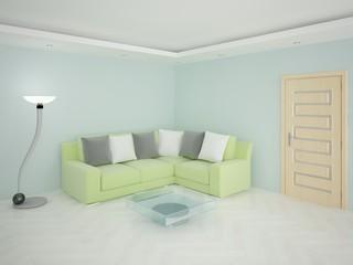 Contemporary living room with sofa.