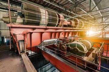 Large industrial crane equipment scene in steel mill