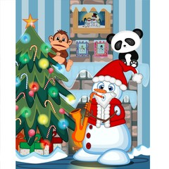Snowman Wearing A Santa Claus Costume Playing Saxophone with christmas tree and fire place Illustration