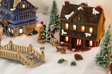 Miniature Christmas Village Scene Buy This Stock Photo And Explore