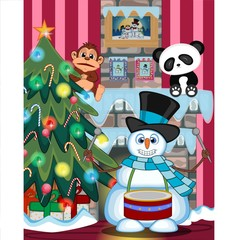 Snowman Playing Drums Wearing A Hat And A Blue Scarf with christmas tree and fire place Illustration