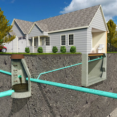 A schematic section-view illustration of a contemporary Sanitary Sewer System depicting a residential connection to a public sanitary structure.