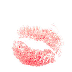 Red Lipstick trace of lips. Abstract illustration.