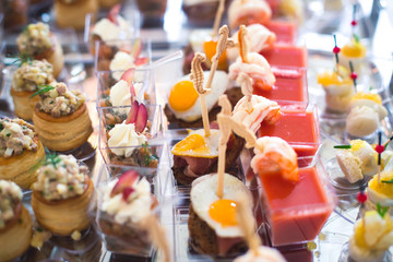 Beautifully decorated catering banquet table with different food snacks and appetizers with sandwich, caviar, fresh fruits on corporate christmas birthday party event or wedding celebration