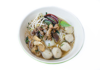 bowl of thai style beef noodle soup, Boat Noodle, isolated on wh