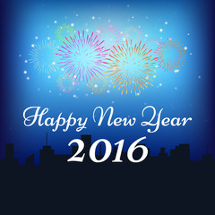 Happy New Year 2016 with fireworks on silhouette city and blue background (vector)