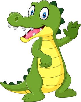 Cartoon funny crocodile waving hand isolated on white background