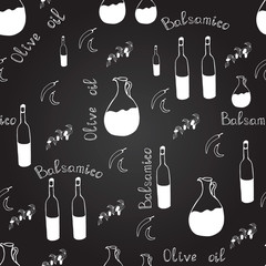 Black and white seamless pattern with olive oil bottle, balsamico bottle, pitchers, olive branches, chili pepper and letters.