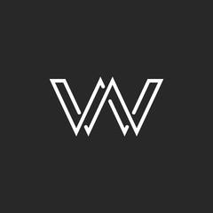 Monogram letter W logo, weave thin line style, mockup wedding invitation emblem, design element template