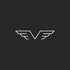 Monogram wings V letter logo, mockup creative emblem thin line style for wedding invitation