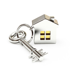 Mortgage concept. Silver key with house isolated on white background