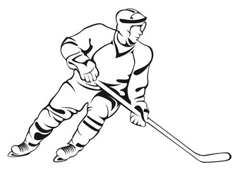 Hockey player. Vector linen silhouette, isolated on white