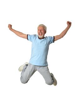 Senior man jumping