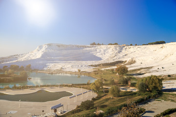 View of Pamukkale Hills with Sun