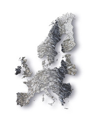 Europe map represented with asbestos graphics on white backgroun - concept image