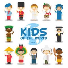 Niños del mundo: Nacionalidades Set 1. Grupo de 12 personajes vestidos a la manera tradicional de sus respectivos países. Ilustración de vector.