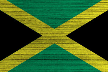 Jamaica Flag painted on wood background