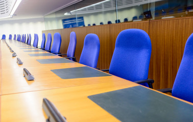 Rows of seats in the European Court of Human Rights in Strasbourg