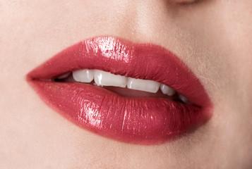 Halloween makeup. Expression rock style lip make-up like a vampire, dark romantic. Fashion look, glitter, multicolor, soft focus