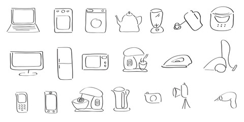 hand-drawing icons of home appliances