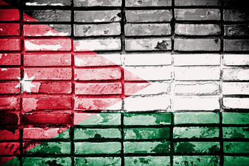 Jordan flag painted on old brick wall texture background