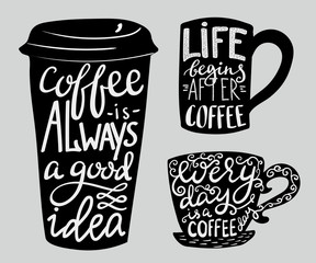 Lettering on coffee cup shape set