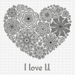 Card design for Valentines day or lowers. Pattern with flowers . Heart shape.  Text I Love U.  Beautiful  floral background. Good for weddings, invitations, birthdays. Black and white colors.