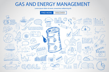 Gas and Energy Management concept with Doodle design style