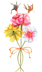 Vintage watercolor bouquet of roses and dahlias, on white backround