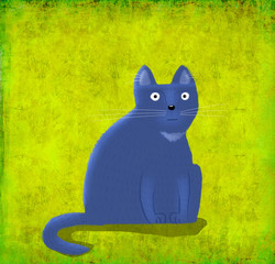 Violet Cat Sitting on the Lime Background