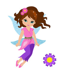 Illustration of a beautiful pink fairy in flight Isolated on white background.
