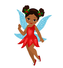 Illustration of a winter Christmas fairy in flight Isolated on white background.