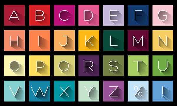 Flat Design Letters, icons alphabet concept background