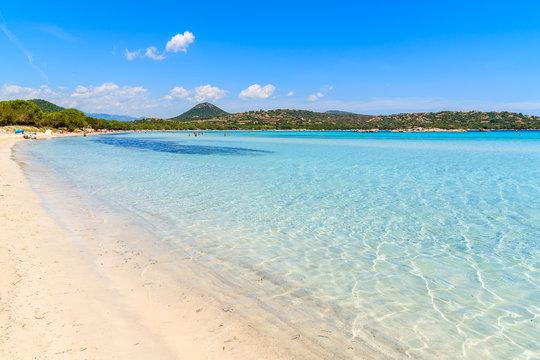 Azure sea water of Santa Giulia beach, Corsica island, France